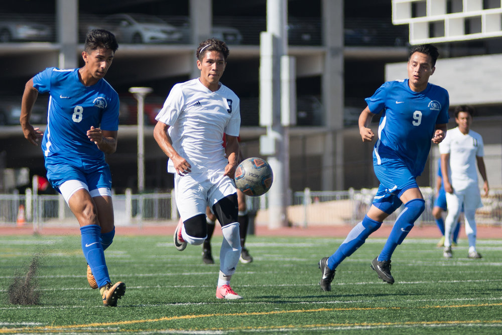 Santa Monica College Corsair Andy Naidu (8) (L) kicks and scores a goal against Citrus College Owls on Tuesday September 26, 2017 on the Corsair Field at Santa Monica College in Santa Monica, California. The Corsairs tied the game 1-1. (Josue Martinez)
