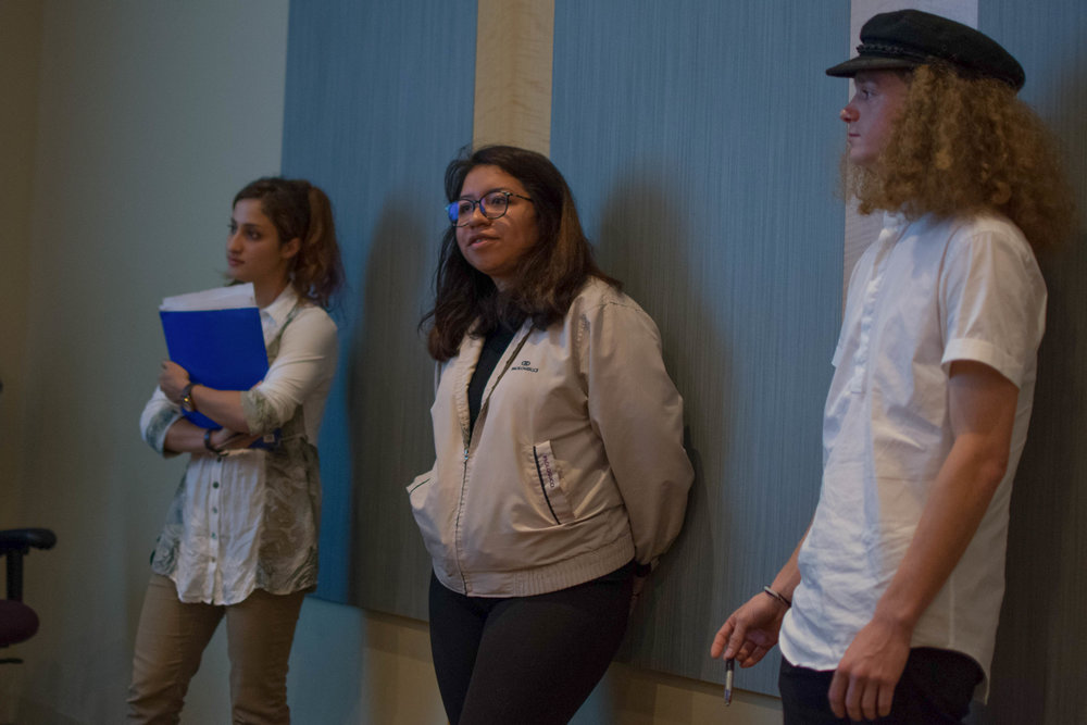 The three running candidates for the ICC Communications Officer position (left to right) Nia Mou, Maritza Lopez and Timmy Thompson lean against the wall as they await the results at the Santa Monica Main Campus in Santa Monica, Calif. Photo by Ethan Lauren