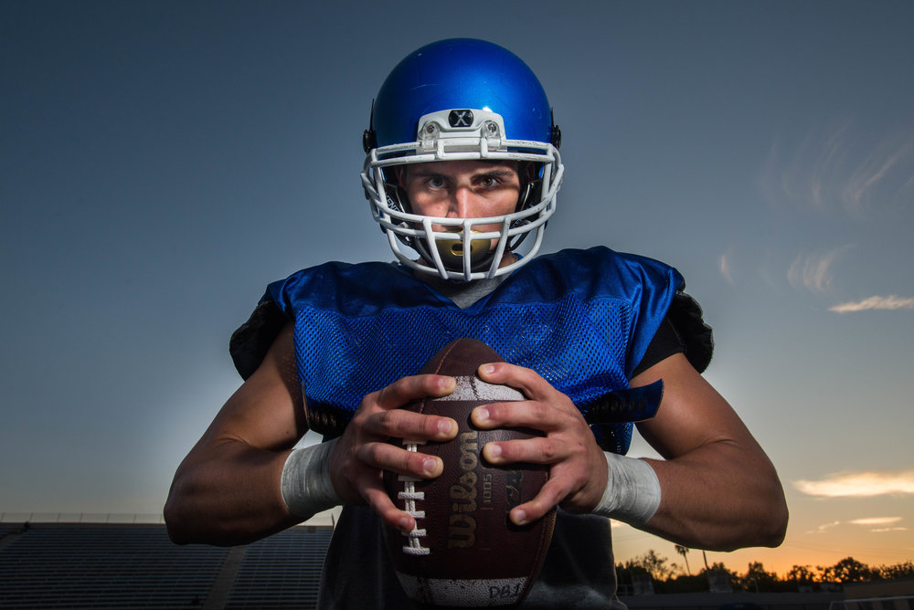 Santa Monica College Corsairs middle linebacker Chris Wein poses for a portrait at the Corsair Field. (Photo: Josue Martinez)