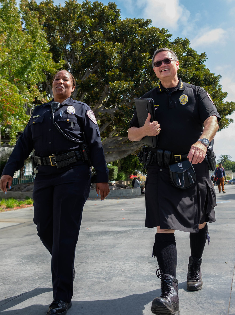 Chief of Police, Johnnie Adams (RIGHT) and Officer Patterson (LEFT) walk through the Santa Monica College Quad in Santa Monica, CALIF on October 3rd, 2017. Photo by: Jayrol San Jose