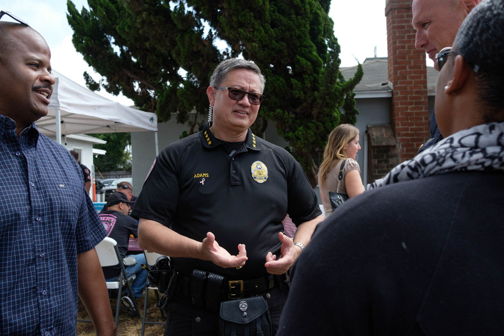 Cheif of Police Johnnie Adams explains to the event attendees the different parts of his kilt uniform in Santa Monica, CALIF on October 3rd, 2017. Photo by: Jayrol San Jose