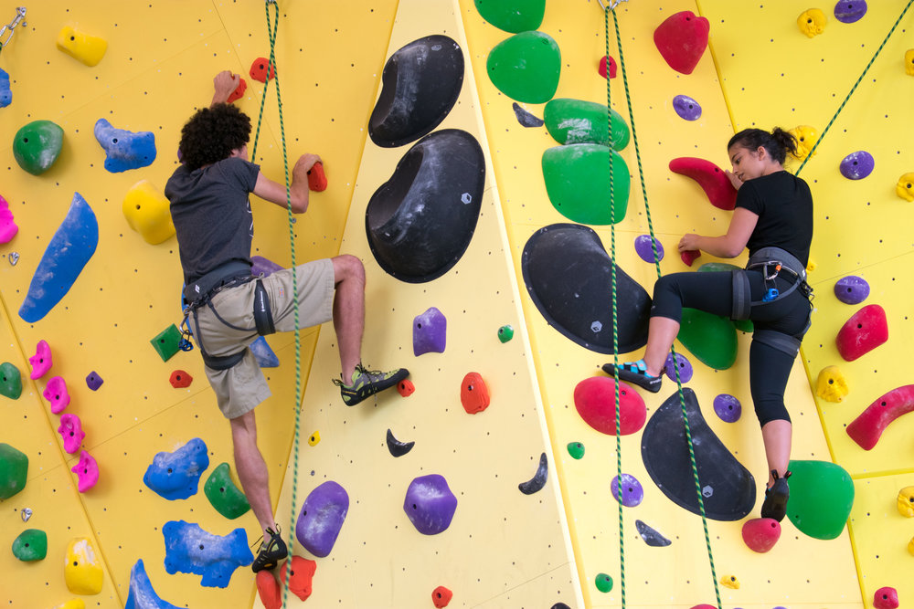 On September 18th, Santa Monica College students Zechariah Symonds and Madeleine Khanzadeh stay active during a Rock Climbing class at the Core Performing Center in Santa Monica, Calif. (Photo by Ethan Lauren)