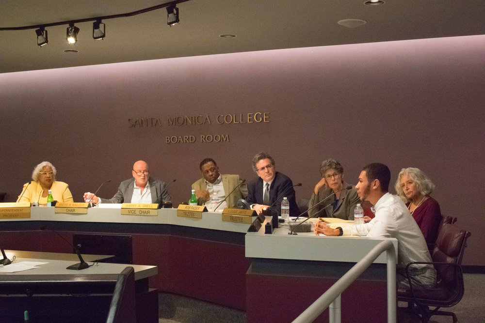 The Board of Trustees for Santa Monica College come together for their monthly meeting on October 3, 2017, at Santa Monica College in Santa Monica, Calif.Student Trustee Chase Matthews, (far right) brings up a discussion on raising the minimum wage for SMC to be the same as the city of Santa Monica. (Photo by: Ethan Lauren)