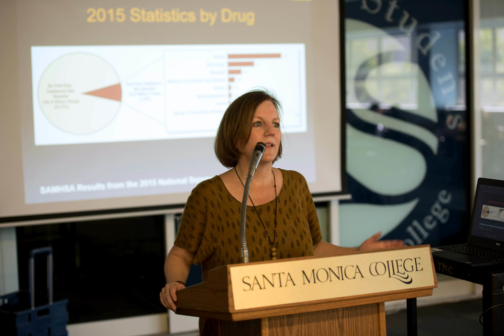 At Santa Monica college Cayton center guess speaker talking about alcohol and substance abuse her name was Paulla Elmore, LMFT on October 5, 2017 photos by Clyde Bates Jr.