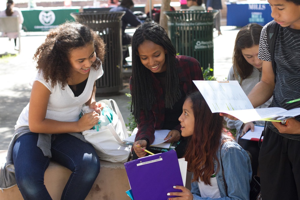 (L to R) Lincoln Middle School students Mikaila Battey, Tehut Samuel, Samantha Flores, Hinano Mann and Malek Williams on a school field trip to Santa Monica College's College Fair on the Main Campus of Santa Monica College in Santa Monica, Calif., October 10, 2017. (Photo By: Ripsime Avetisyan/Corsair Staff)