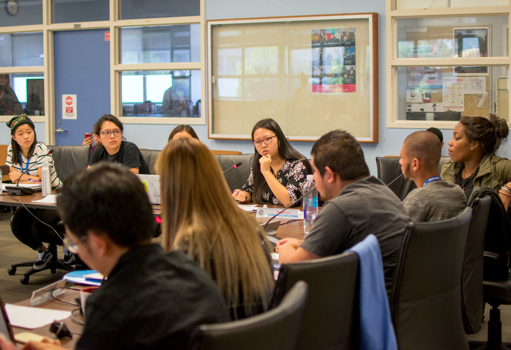 On October 9th, Maggie Lo, the Director of Community Relations for the Associated Students of Santa Monica College talks with the rest of the board about her plans for International Education Week. The A.S. hold weekly board meetings at 3 p.m. at the Cayton Center in Santa Monica, California. (Photo by Ethan Lauren)
