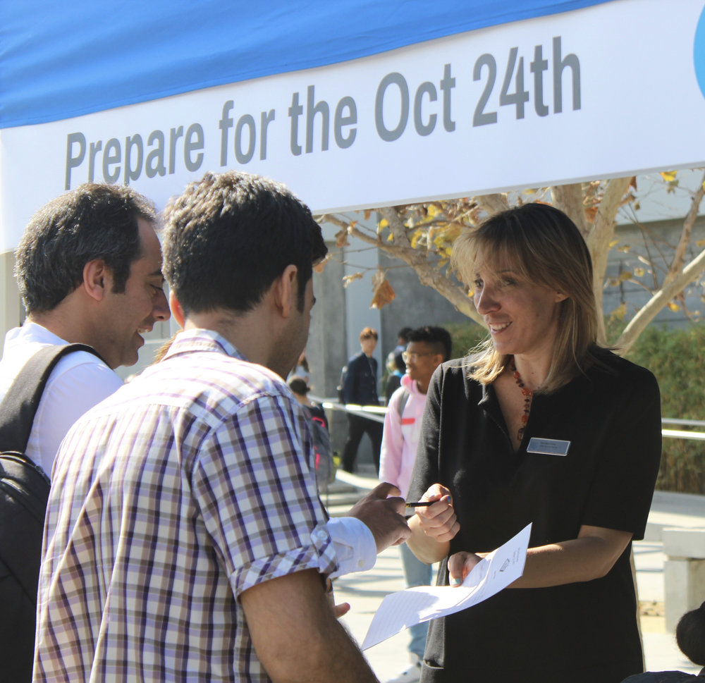 AnnMarie Leahy who organized the Job Fair Prep Event sponsored by the Career Services Center, the Fashion Club, and EOPS on Santa Monica College's main campus on Thursday October 12, 2017 speaking to students about the upcoming Job Fair Event on October 24,