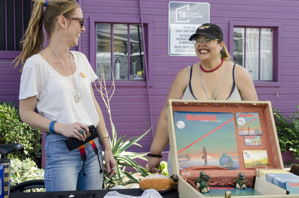 Sarah Sin(left) and Walleska Barreto(right) enjoying and dancing to the music of the band Cuñao at the Pico Block Party.18th Street Art Center on 18th and Olympic. Santa Monica, Calif. on October 14, 2017. (Photo by Diana Parra Garcia)