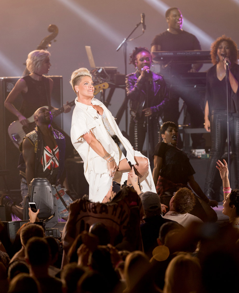 American singer P!nk (Alecia Beth Moore) moves through the crowd to get on stage for her performance to close out the night at the Hollywood Bowl for CBS Radio's We Can Survive concert to raise money for breast cancer in Los Angeles, Calif on Saturday, October 21st 2017. (Photo by: Thane Fernandes)