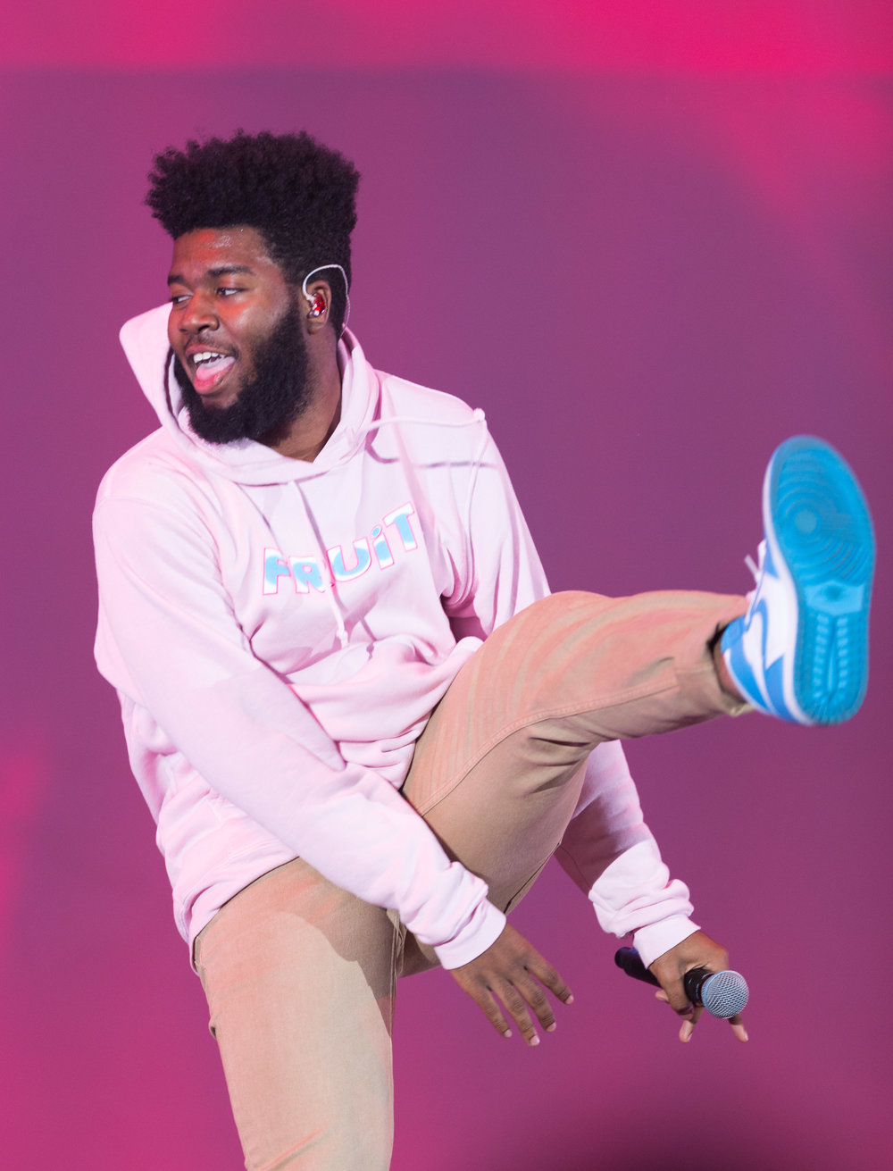 "R&B artist Khalid (Khalid Legend Robinson) does a jump kick during his performance of ""Another Sad Love Song"" at the Hollywood Bowl for CBS Radio's We Can Survive concert to raise money for breast cancer in Los Angeles, Calif on Saturday, October 21st 2017. (Photo by: Thane Fernandes)"