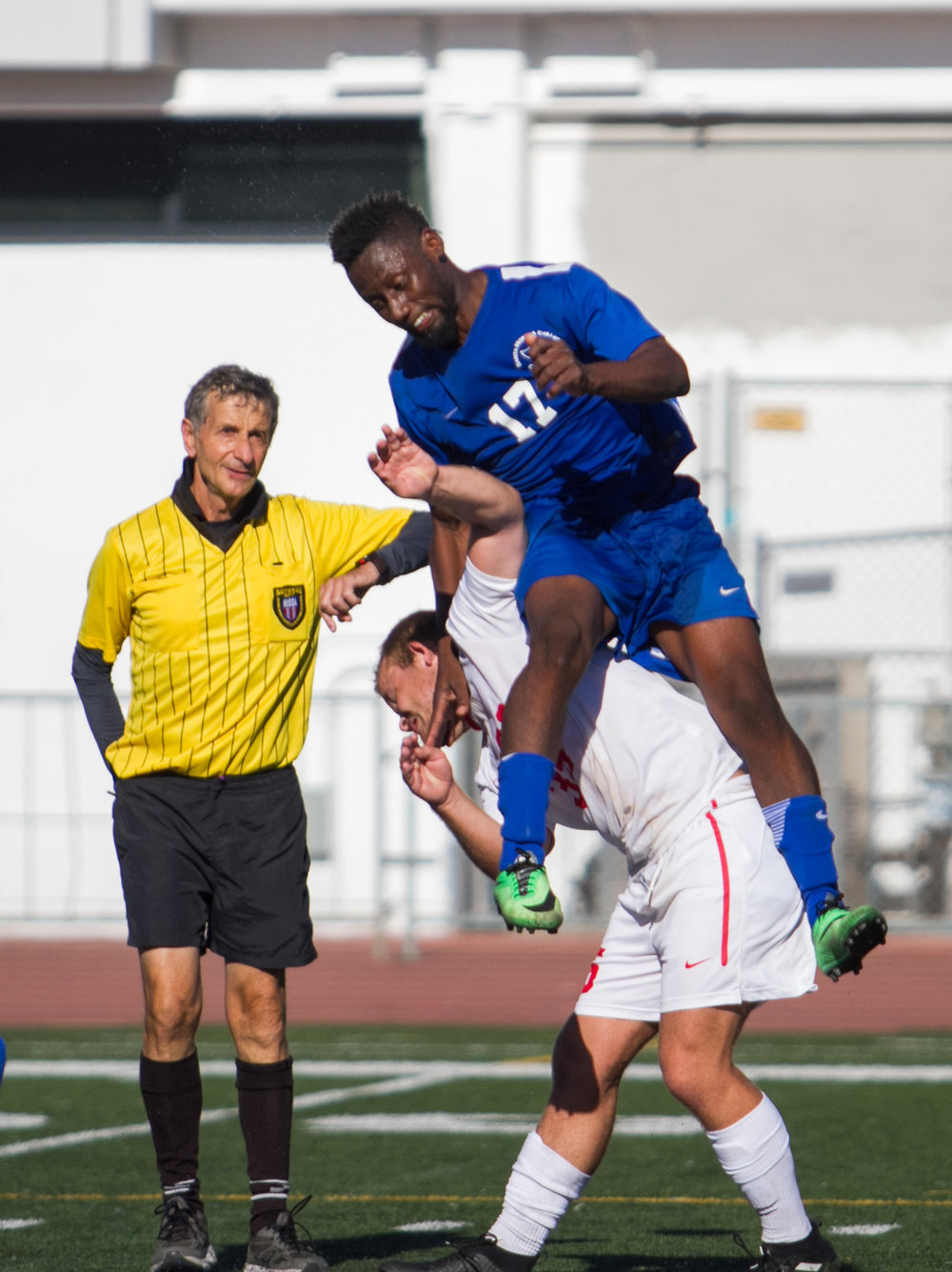 Santa Monica College Corsair Cyrille Njomo (17)(R) fights for possession of the ball  against Santa Barbara City College Vaquero Nathan Nundley (35)(L) on Tuesday, October 24, 2017, on the Corsair Field at Santa Monica College in Santa Monica, California. The Corsairs tie 0-0. (Josue Martinez)