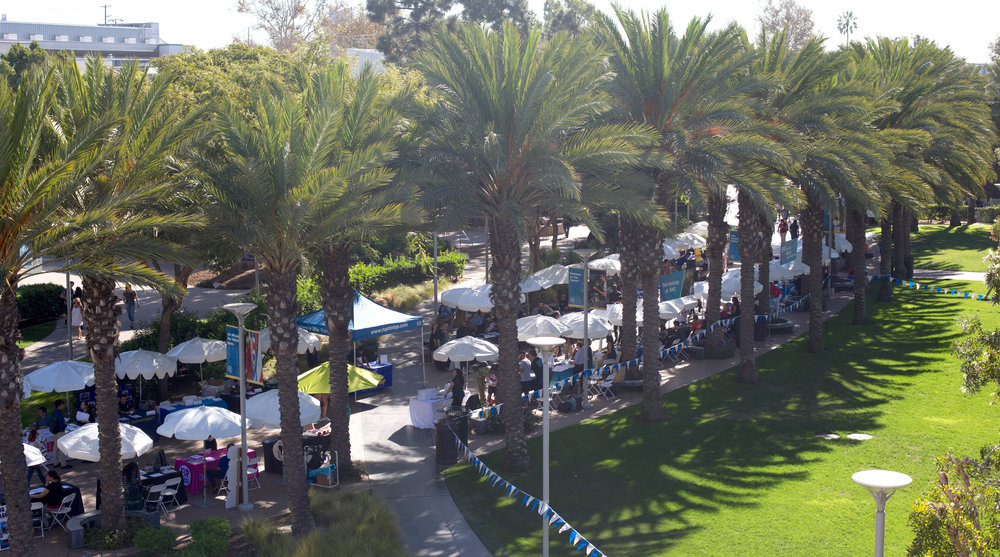 Multiple employers lined up under white umbrellas at the Job Fair on the Main Quad of the Main Campus in Santa Monica College in Santa Monica, Calif., October 24, 2017. (Photo By: Ripsime Avetisyan/Corsair Staff)