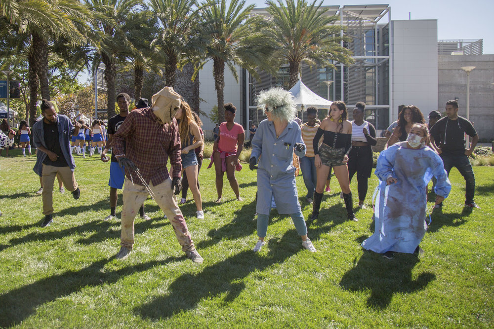 Students dance to the music during Club Row event at Santa Monica College Main Campus on Thursday, October 26th, 2017 in Santa Monica, Calif. (Photo by Yuki Iwamura)