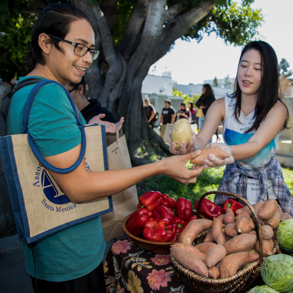 "Santa Monica College holds their weekly Free Corsair Farmers Market from 2:30pm to 3:30pm at the Organic Learning Garden. On October 4, 2017 in Santa Monica, Calif. students with an SMC ID can take one of each item. SMC student Christian Perlera (left) says ""I've been coming here since the Spring semester, and I usually wait an hour before the long line starts."" The vegetables and fruits are provided by the local food bank and Santa Monica farmers markets. (Photo: Jazz Shademan)"