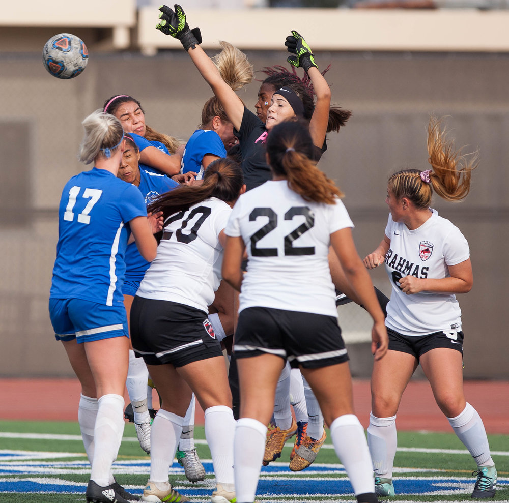 Pierce College Brahma Brianne Jacobo (1) defends the goal from the Santa Monica College Corsairs on the Corsair Field at SMC  on Tuesday, October 31, 2017 in Santa Monica, Calif.  Corsairs win against the Brahmas 1-0. (Elena Rybina)