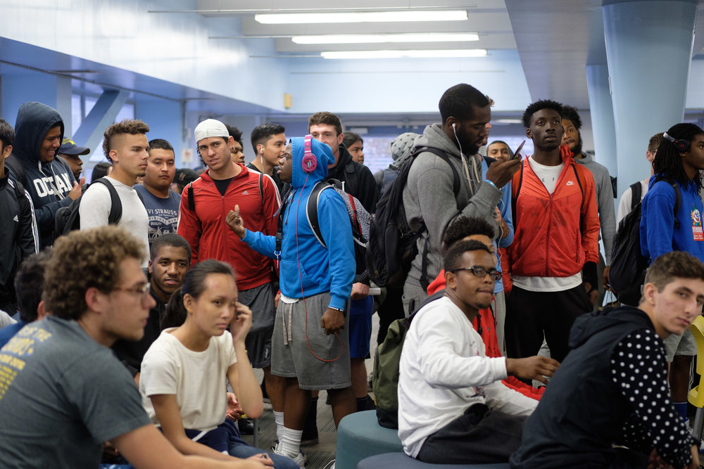 Students gather into the Cayton Center for pizza, Monday Night Football and a spirit week poster contest in the Cayton Center at Santa Monica College in Santa Monica CALIF on October 30, 2017. (Photo by Jayrol San Jose)