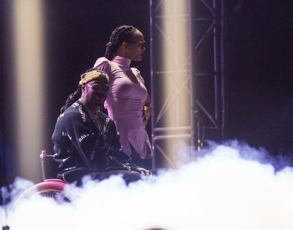 Rapper 2 Chainz performs from a wheelchair, due to a broken leg, on night 2 of music festival Camp Flog Gnaw Carnival in Los Angeles, Calif. The festival was held on October 29, 2017 as part of a two day weekend event. (Photo: Jazz Shademan)