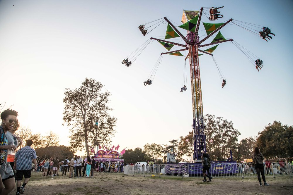People gather for the sixth year in a row music festival Camp Flog Gnaw Carnival in Los Angeles, Calif. The festival was held on October 29, 2017 as part of a two day weekend event full of carnival rides and games. (Photo: Jazz Shademan)