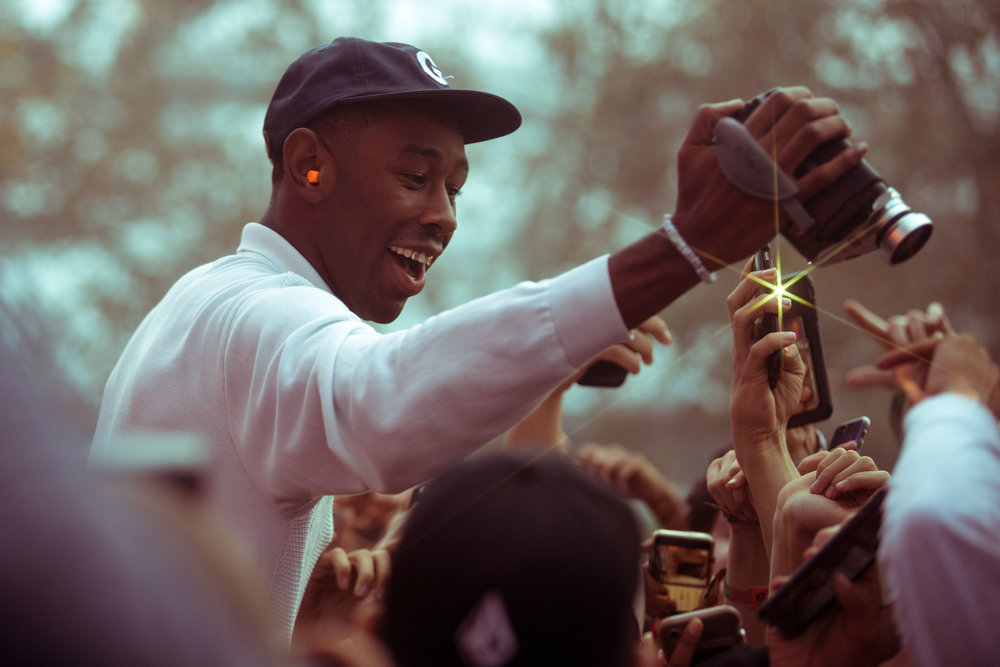 Rapper and founder of Camp Flog Gnaw, Tyler, The Creator documents most performaces with his camcorder night 2 of music festival Camp Flog Gnaw Carnival in Los Angeles, Calif. The festival was held on October 29, 2017 as part of a two day weekend event. (Photo: Jazz Shademan)