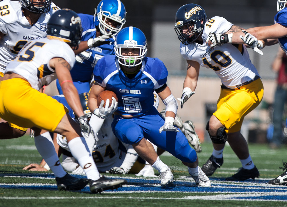 Christoph Hirota (5) of the Santa Monica College handles the ball.  College of the Canyons beat the Corsairs 48-7. The game was held at the Corsair Stadium at the Santa Monica College Main Campus in Santa Monica, California, on 4th of November, 2017. (Photo by: Elena Rybina)