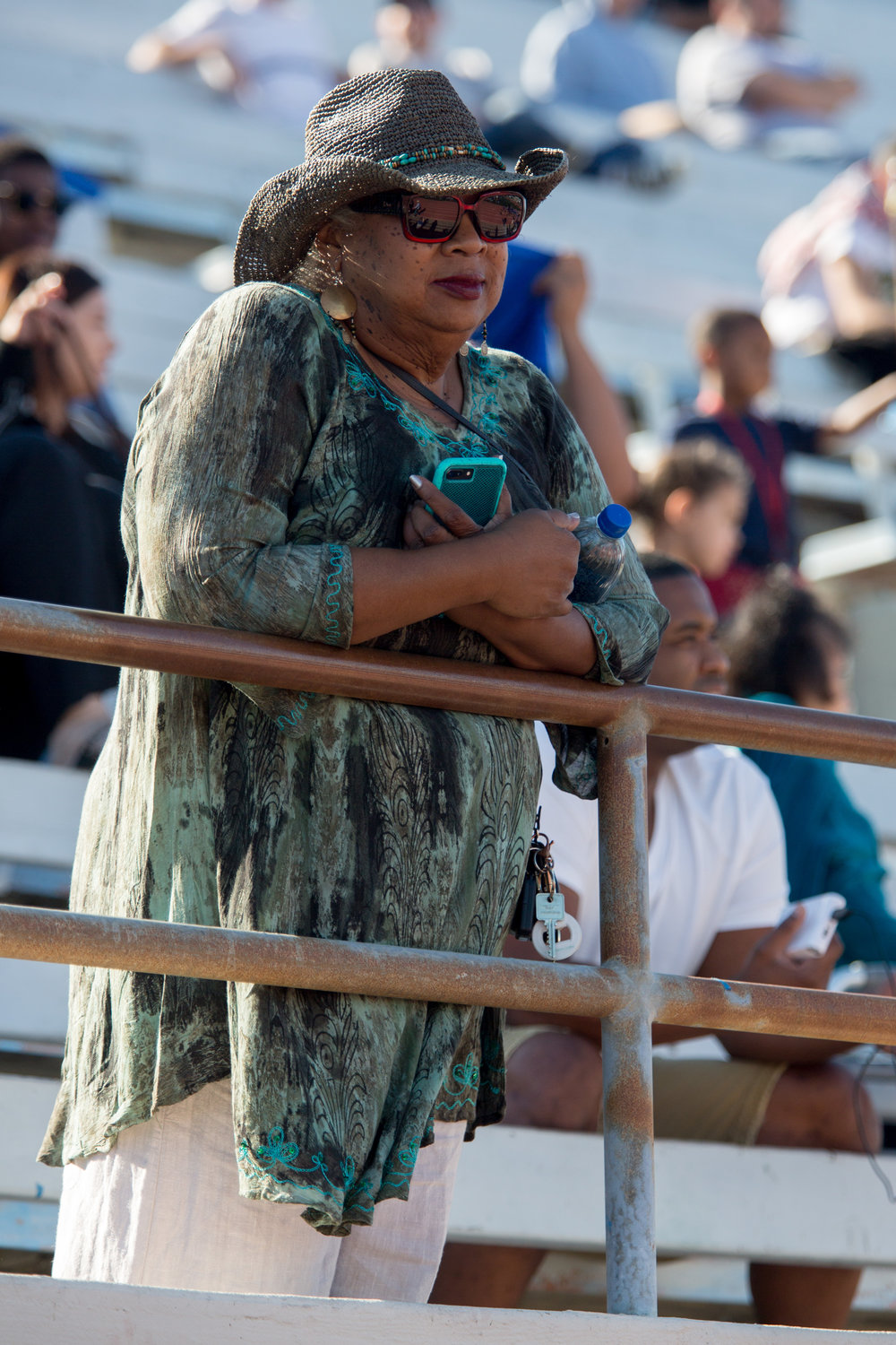 Dr. Kathryn Jeffery, Santa Monica College President, watches homecoming football game of Santa Monica College Corsairs against College of the Canyons Cougars on Saturday, November 4th, 2017 at Corsair Stadium at Santa Monica College Main Campus in Santa Monica, California. (Photo by Yuki Iwamura)