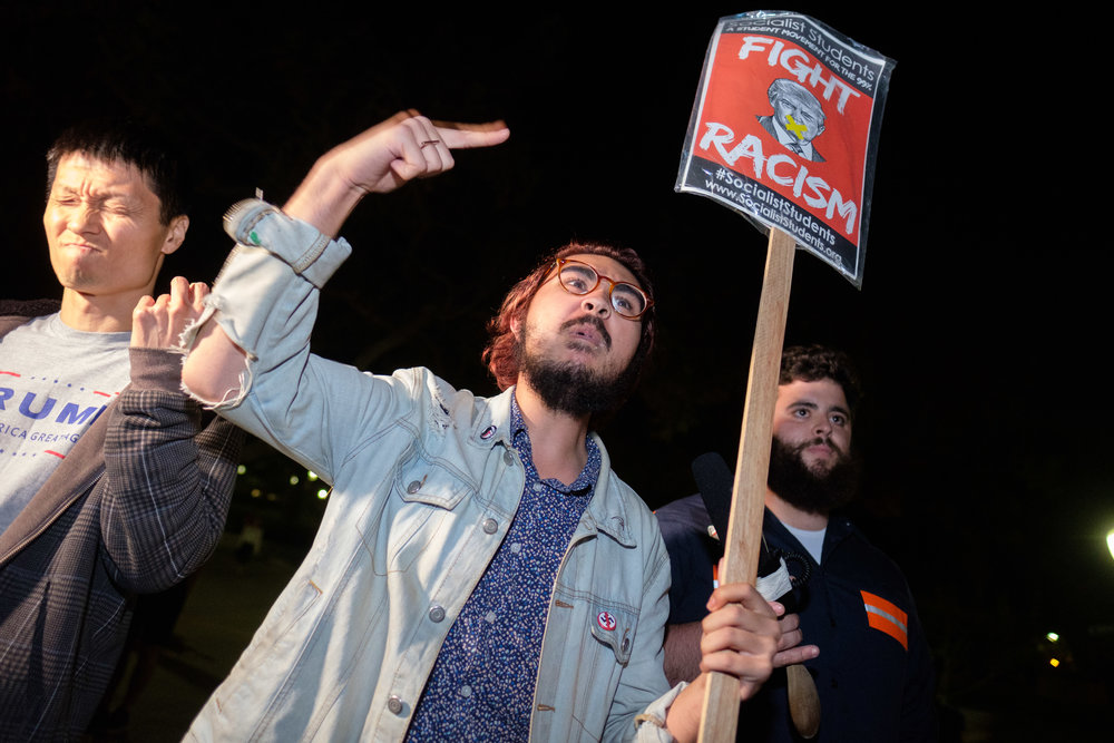 Justin Deckard a Policital Science major at the University of California, Santa Barbara giving a speech to his fellow protesters during the Rally Against Hate at UCLA campus in Los Angeles, CALIF on November 13, 2017. (Photo by Jayrol San Jose)