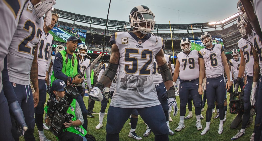Rams / Daniel Bowyer  Los Angeles Rams' Linebacker Alec Ogletree (52) (middle) during pre-game of an NFL football game against the New York Giants, Sunday, Nov. 5, 2017, in East Rutherford, N.J..