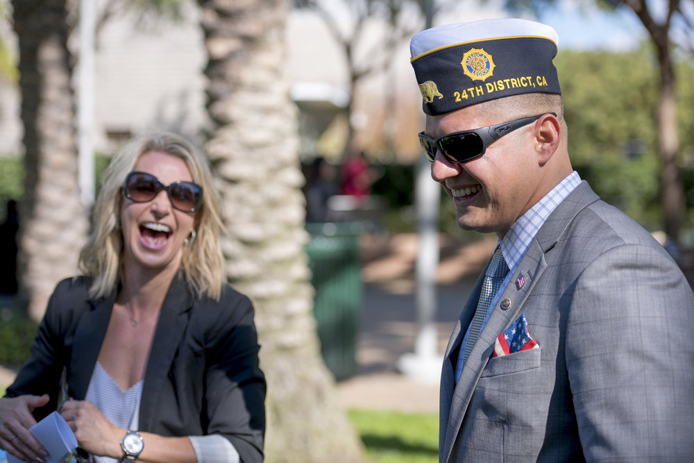 After the Ceremony, US Army Veteran Jennifer Campbell and US Marine Corps Noe Aguirre sharing a moment. Veterans Day ceremony, at the Santa Monica College Main Campus, by the quad, Santa Monica, Calif. On Thursday Nov.9, 2017. Clyde Bates.