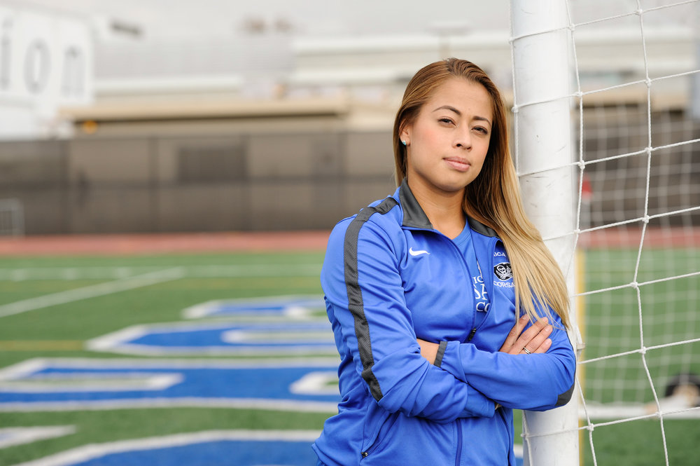 Number 23, sophmore, Daysi Serrano, a forward for the Santa Monica College Corsairs women's soccer team, poses for a portrait at the southern goalpost of the Corsair Stadium. Photo was taken at the Corsair Stadium, at the Santa Monica College Main Campus, in Santa Monica, Calif.. October 31, 2017. (Photo by: Justin Han)