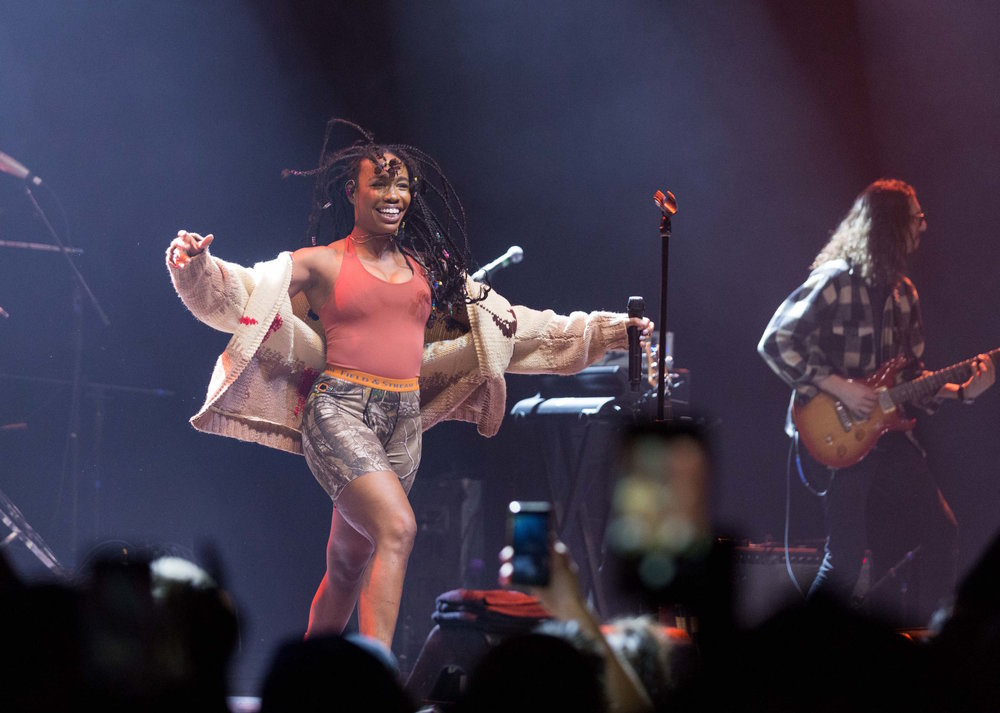 "American R&B singer Solána Imani Rowe ""SZA"" dances on stage during her performance of ""Broken Clocks"" off of her debut album ""Ctrl"" at the Novo in Los Angeles, Calif. on Tuesday, November 14th 2017. The show was not originally on SZA's ""Ctrl"" tour but was recently added due to high demand. Photo by Thane Fernandes."