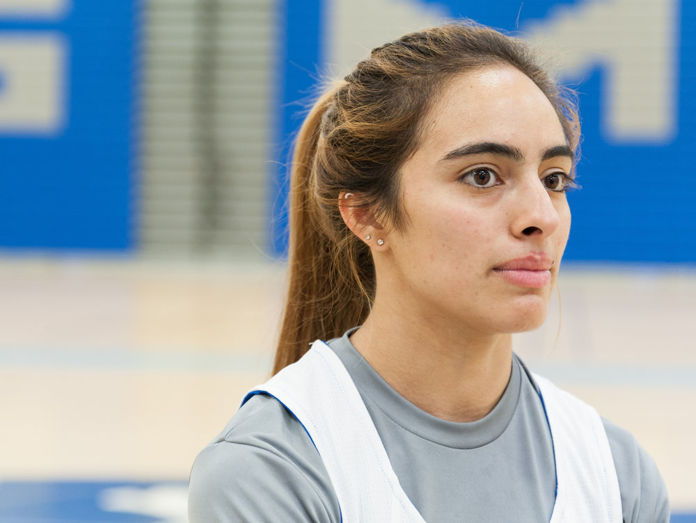 Freshman guard Luna Rivera (3) of the Santa Monica College Women's Basketball Team during an interview at practice.  SMC Pavilion, Santa Monica College Main Campus, Santa Monica, Calif.. November 13, 2017.(Photo by: Justin Han/Corsair Staff)