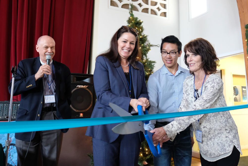Rev. Eric Shafer (Left) Angela Millstein (Middle Left) Lewis Tse (Middle Right) Darci Niva (Right) cut the ribbon for the grand opening of the Student 4 Student Homeless Shelter at  Mt. Saint Olive in Santa Monica,CALIF on December 3, 2017. (Photo by Jayrol San Jose)