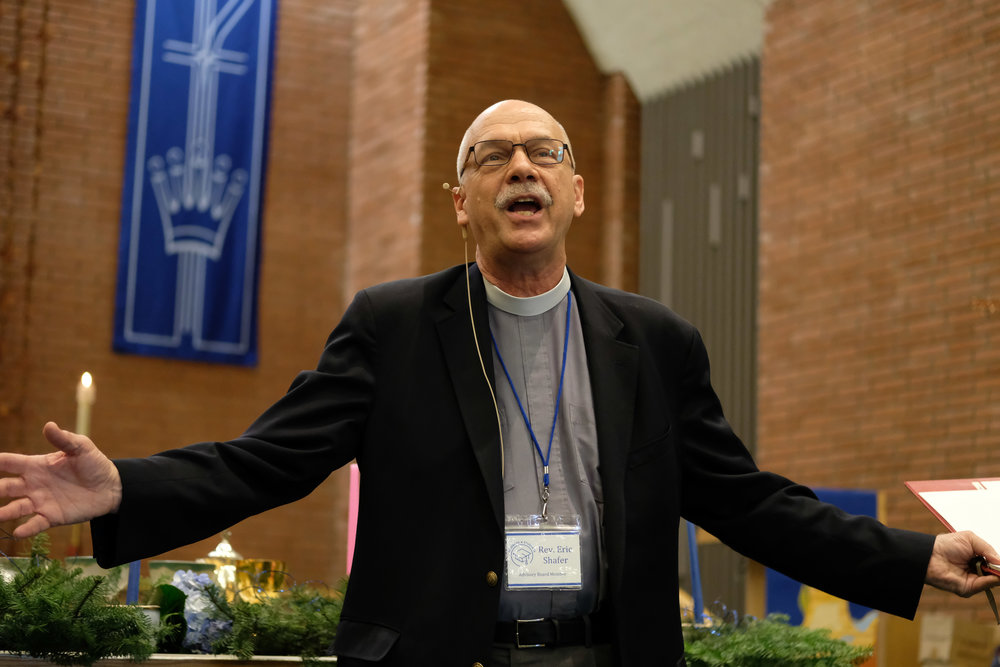 Rev. Eric Shafer the pastor at Mt. Saint Olive during his  sermon talks about homeless college students and waht the Student 4 Student homless shelter means to him on December 3, 2017 in Santa Monica, CALIF. (Photo by Jayrol San Jose)