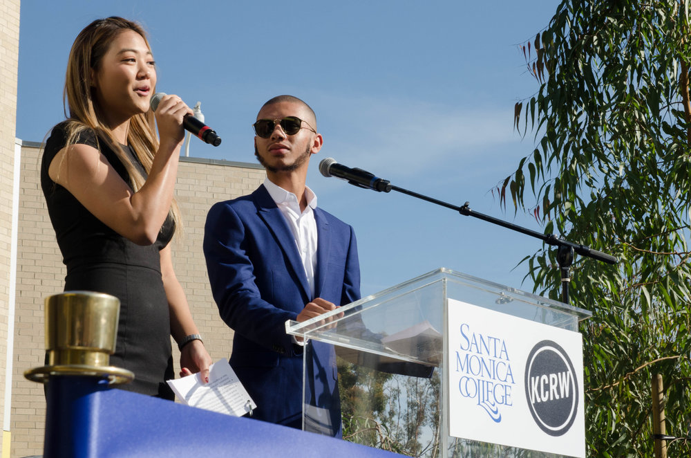 (Left to Right) SMC Associated Student President Jennifer Chen and SMC Student Trustee Chase Mathews speaking at the ribbon cutting ceremony for the 'Center for Media and Design' and 'KCRW Media Center' . Santa Monica, Calif. December 2,2017 (Photo by: Diana Parra Garcia)