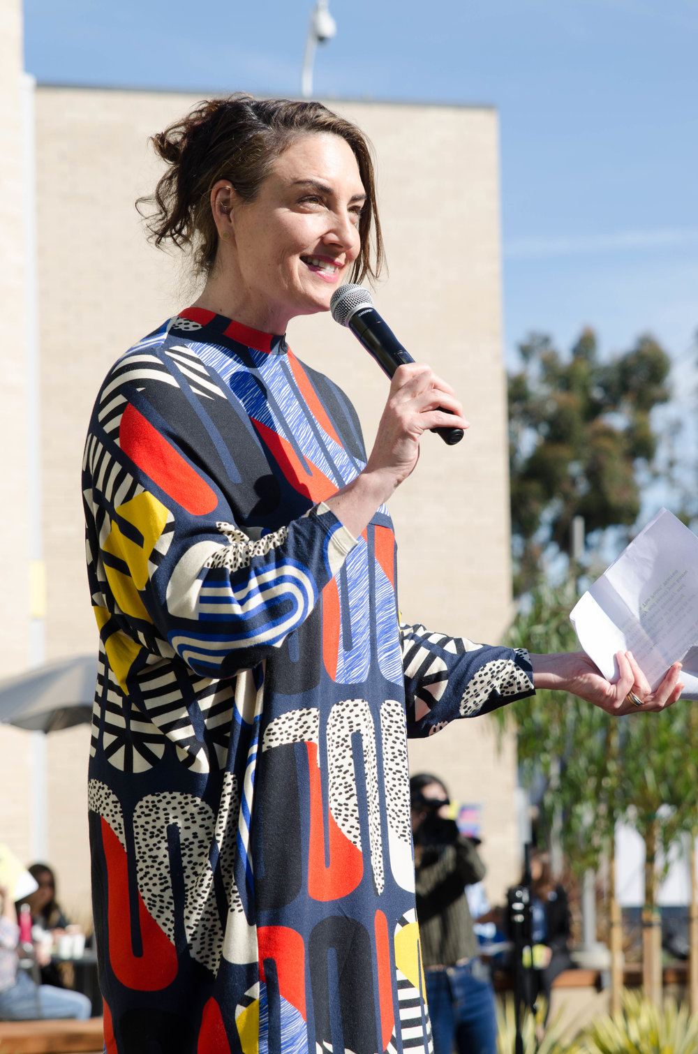 KCRW Host Madeleine Brand, being the Master of Ceremonies for the SMC's CMD and KCRW Media Center. SMC  CMD campus .Santa Monica, Calif. December 2,2017 (Photo by: Diana Parra Garcia)