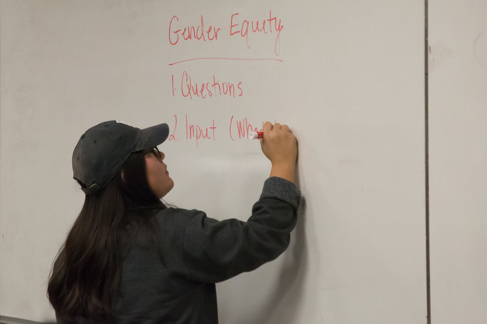 Melissa Avina-Beltran writes opinions came up from Gender Equity and Social Justice Center Committee Meeting took place on Tuesday, December 5th, 2017 at Humanities & Social Sciences Building in Santa Monica College Main Campus in Santa Monica, California. (Photo by Yuki Iwamura)