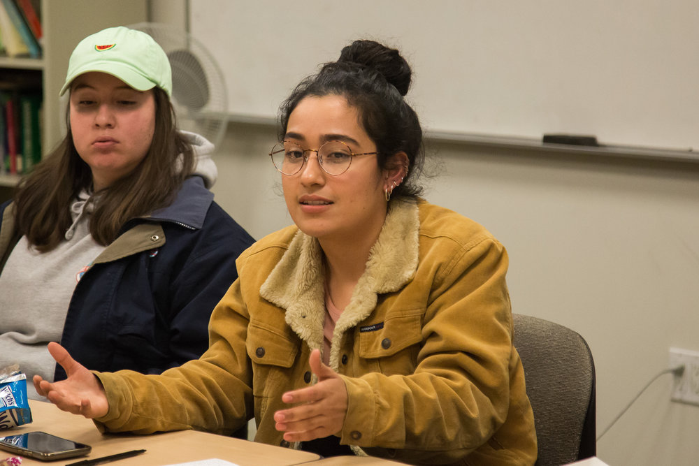 Meelissa Tapia Cortez discusses about Gender Equity and Social Justice Center during GEN-C Committee Meeting took place on Tuesday, December 5th, 2017 at Humanities & Social Sciences Building in Santa Monica College Main Campus in Santa Monica, California. (Photo by Yuki Iwamura)
