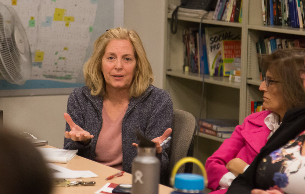 Eileen Rabach, Professor of Economics at Santa Monica College, talks about Gender Equity and Social Justice Center during GEN-C Committee Meeting took place on Tuesday, December 5th, 2017 at Humanities & Social Sciences Building in Santa Monica College Main Campus in Santa Monica, California. (Photo by Yuki Iwamura)
