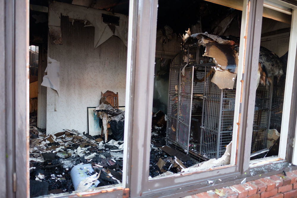 The inside of the house is completely destroyed by the Skirball Fire, only thing left standing is a metal birdcage on Dec. 6, 2017. (Photo by Jayrol San Jose)