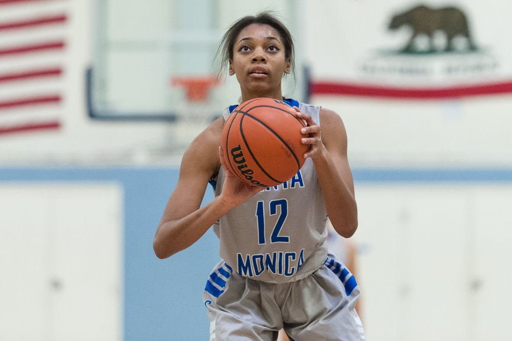 Forward Jazzmin Oddie (12) of Santa Monica College prepares to shoot a free throw after being fouled in the act of shooting. The Santa Monica College Corsairs lose the game 52-69 to the Moorpark College Raiders. The game was held at the SMC Pavilion at the Santa Monica College Main Campus in Santa Monica, Calif.. December 9, 2017. (Photo by: Justin Han/Corsair Staff)