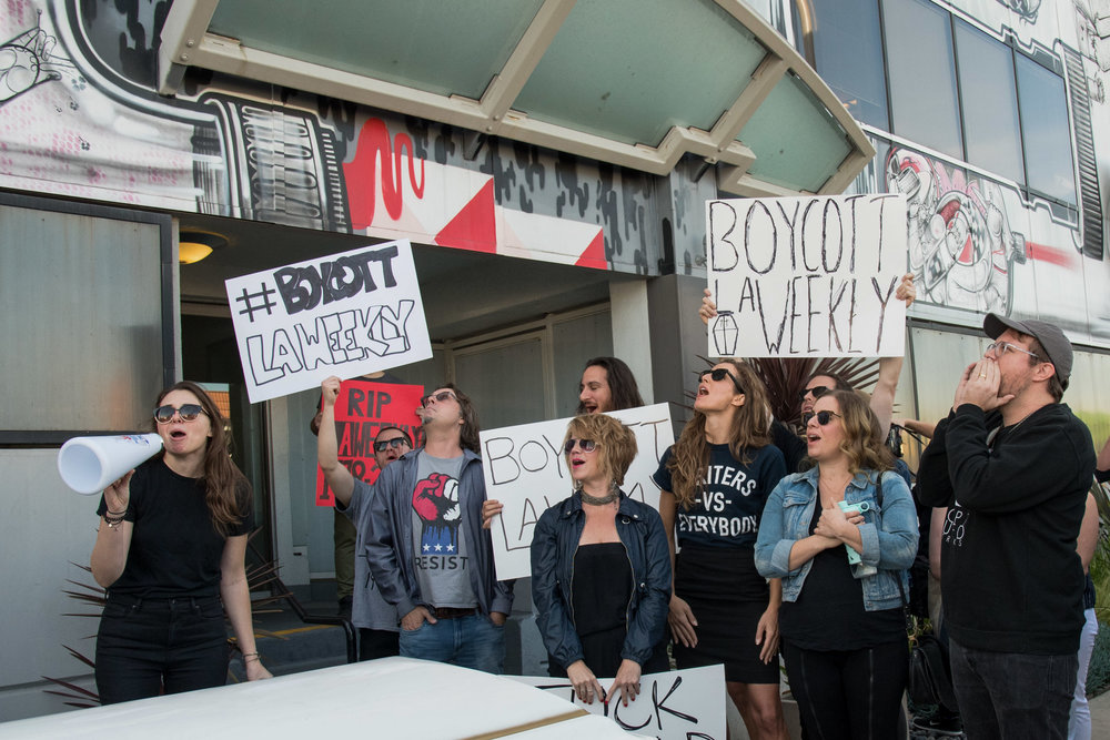 Haley Potiker (left) speaking at the LA Weekly funeral/protest infront of LA Weekly in Culver City, Calif. on Dec. 8th, 2017. Photo by Willow Sando-McCall