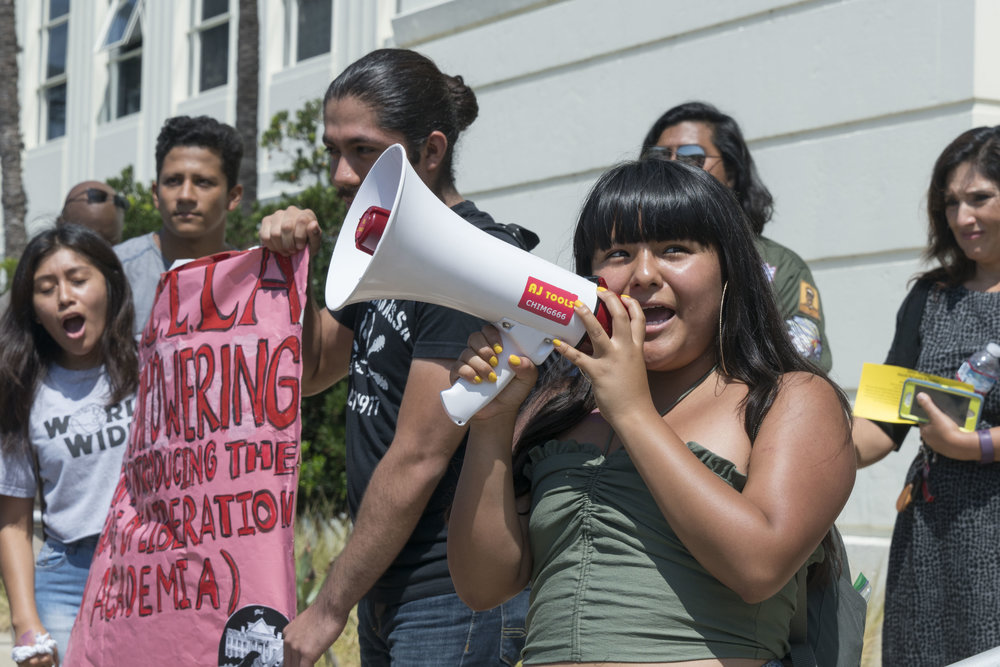 """I am a DACA recipient,"" Santa Monica College student, Salma Morales Aguilar, 19, announces at a rally in front of Santa Monica City Hall in Santa Monica, Calif., on Thursday, September 7, 2017. Students from Santa Monica College held a rally and march to protest President Donald Trump's decision to end the DACA program, announced on September 5, 2017. (Photo: Helena Sung)"