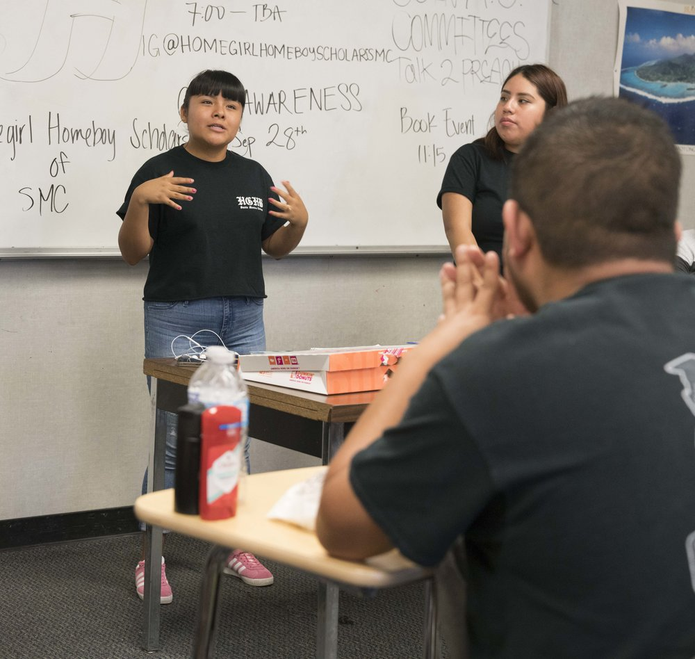 Santa Monica College student and DACA recipient, Salma Aguilar Morales, 19, speaks at a meeting of the Homegirl & Homeboy Scholars of Santa Monica College at Santa Monica College on September 21, 2017.  Aguilar Morales is a Vice President of the club, which seeks to help formerly incarcerated and first generation students to succeed personally and academically.  (Photo: Helena Sung)