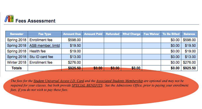 Santa Monica College Fees Assessment Page.