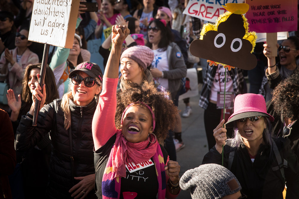 Demonstrators attend the second Women's March on Washington in Los Angeles, Calif. on Jan 20, 2018. An estimated 600,000 supporters of various human rights issues began the march at Pershing Square in downtown Los Angeles and gathered at the destination where guest speakers and live musical performances were hosted on a stage in front of the Los Angeles City Hall steps. Hollywood celebrities representing the #TimesUp movement such as Natalie Portman and Scarlet Johansson spoke about their experiences with sexual harassment and called for attendees to end workplace harassment and assault for women in working class jobs. When asked if the movement has plans to mobilize supporters throughout the rest of the year, Deena Katz, Co-Executive Director of Women's March Los Angeles Foundation, said their focus for 2018 would be voter education and voter registration. Photographer/Zin Chiang.