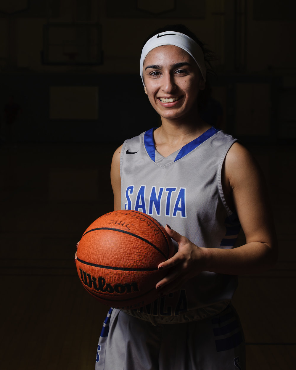 Jessica Melamed (2), a sophomore guard on the Santa Monica College women's basketball team, poses for a portrait at the SMC Pavilion at the Santa Monica college main campus. Santa Monica, Calif., Feb. 17, 2018. (Photo by: Justin Han/Corsair Staff)