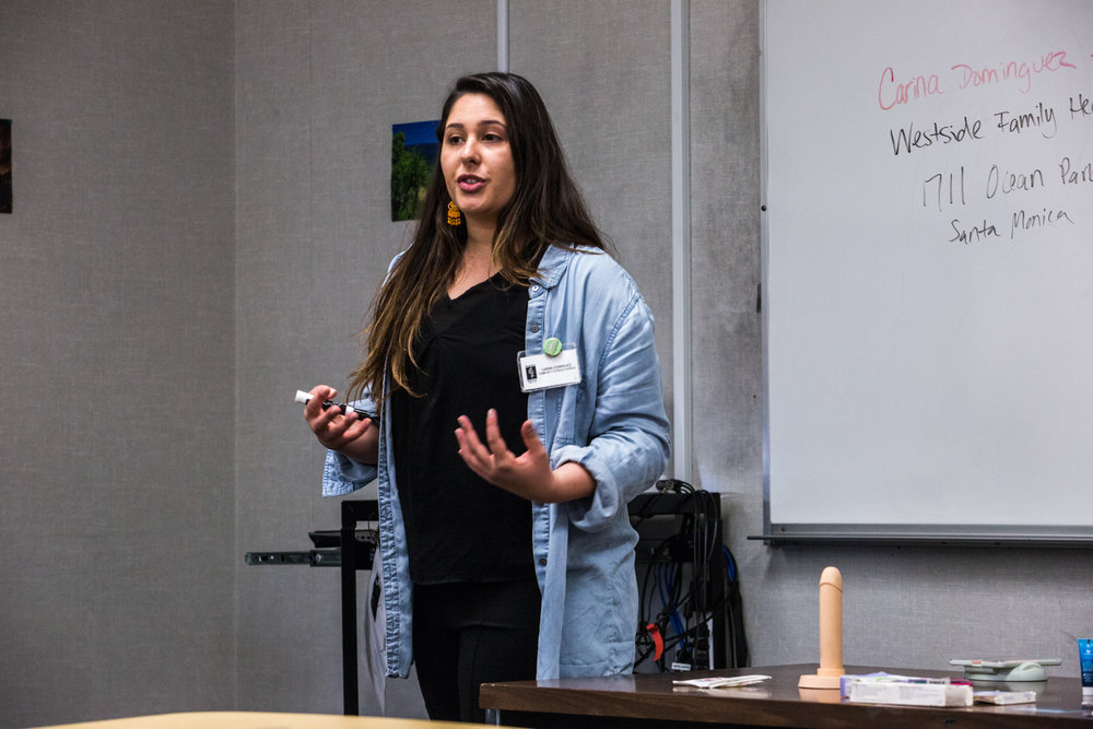 Carina Dominguez one of the sex educators from Westside Family Health Center, fields questions about contraception and STD prevention at the 'Sex, Yeah! STD reduction' workshop held at Santa Monica College, Santa Monica, CA on Thursday March 1 2018. The monthly workshops are held by The Westside Family Health Center who serve a large number of elementary, high schools and community colleges on the Westside of Los Angeles. Photo by Ruth Iorio