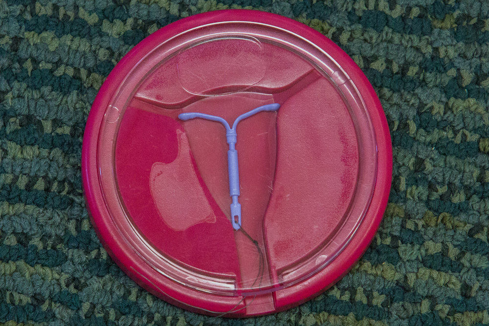 The IUD was one of the forms of contraception shown to students at the 'Sex, Yeah! STD reduction' workshop held at Santa Monica College, Santa Monica, CA on Thursday March 1 2018. The monthly workshops are held by The Westside Family Health Center who serve a large number of elementary, high schools and community colleges on the Westside of Los Angeles. Photo by Ruth Iorio