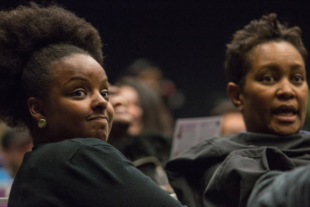 Sherri Bradford (left) and Deyadra Blye (right), both counselors at Santa Monica College, listen to the speakers at the 'Inclusion in TV: A Q&A with Marvel and DC TV writers' held at Santa Monica College, Santa Monica, CA on Wednesday February 28 2018. (Photo by Ruth Iorio)