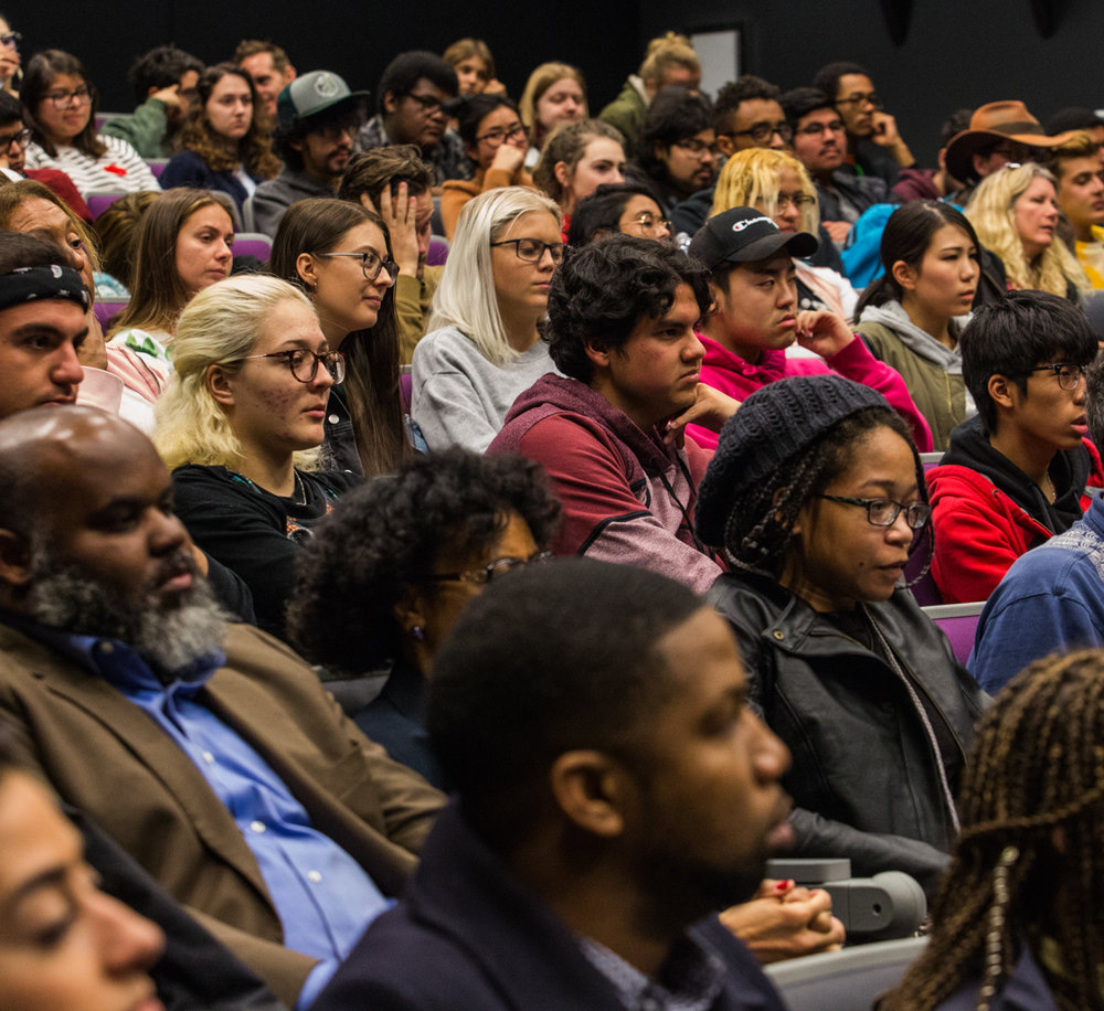 Students listen closely to the speakers at the 'Inclusion in TV: A Q&A with Marvel and DC Televsion Writers' event held at Santa Monica College, Santa Monica, CA on Wednesday Februaru 28 2018. (Photo by Ruth Iorio)